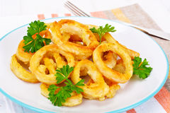 Rings of Squid Fried, Grilled Royalty Free Stock Photography