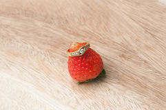 Rings on strawberry. Wedding rings of love on strawberry Stock Photo