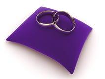 Rings on a velvet cushion stock illustration