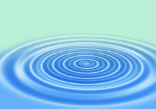 Rings of a water ripple. Blue gradient abstract background with rings on a water surface Stock Photography