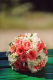 Rings on Wedding Bouquet Stock Image
