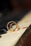 Rings on White Key Stock Image