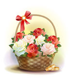 Rings and  wicker basket  with roses. Royalty Free Stock Photo