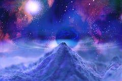 Ringssystemen van planeten Science fiction Kosmische Nevel Stock Foto