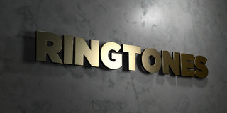 Ringtones - Gold sign mounted on glossy marble wall - 3D rendered royalty free stock illustration. This image can be used for an online website banner ad or a stock illustration