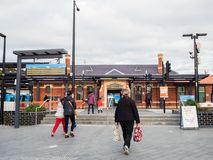 Ringwood Railway Station in the City of Maroondah in the eastern suburbs of Melbourne. Melbourne, Australia - July 21, 2018: Ringwood Railway Station is an stock photo