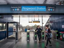Ringwood Railway Station in the City of Maroondah in the eastern suburbs of Melbourne. Melbourne, Australia - July 21, 2018: Ringwood Railway Station is an royalty free stock image