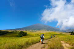 Rinjani mount hiker Stock Image