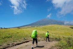 Rinjani mount hiker Royalty Free Stock Photography