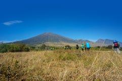 Rinjani mount hiker Royalty Free Stock Image