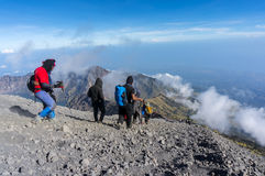 Rinjani mount hikers Stock Photos