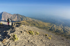 Rinjani mount hikers Stock Images