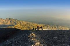 Rinjani mount summit attack Stock Image