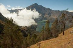 Rinjani Mountain Vulcano beautiful view. Rinjani Crater Rim Mountain Vulcano Hike. Beautiful landscape on lombok island, Indonesia Royalty Free Stock Images