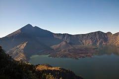 Rinjani Mountain Vulcano Crater Rim. Rinjani Crater Rim Mountain Vulcano Hike with beautiful view and landscape Royalty Free Stock Photo