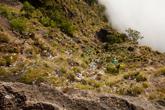 Rinjani Trash Problem, Lombok, Indonesia. Campsite on Rinjani Rim producing a lot of Trash. Many people doesn't care about the nature and the Consequences due to Royalty Free Stock Image