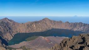 Rinjani volcano mountain crater Stock Photos