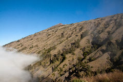 Rinjani volcano mountain top landscape, Lombok Indonesia. Beautiful Rinjani volcano mountain landscape seen on a trekking trip to the top Stock Image