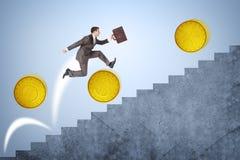 Rinnande övre trappa för affärsman med mynt Arkivbild