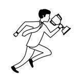 rinnande avatar för businessperson med trofén royaltyfri illustrationer