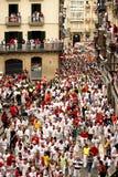 Rinnande bul för Spanien Navarra Pamplona 10 Juli 2015 S Firmino fiesta Arkivbilder