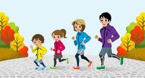 Rinnande familj i hösten park-EPS10 vektor illustrationer