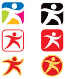 Rinnande gå logo för person Royaltyfri Foto