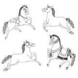 Rinnande hästvektor på en vit bakgrund Hästar för översiktsteckning Arabiska hästar i infödd dräkt Arkivbilder