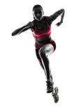Rinnande jogger för kvinnalöpare som joggar konturn Royaltyfria Bilder
