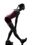 Rinnande jogger för kvinnalöpare som joggar konturn arkivbild