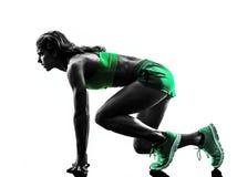 Rinnande jogger för kvinnalöpare som joggar konturn Arkivfoto