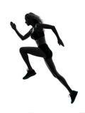 Rinnande jogger för kvinnalöpare som joggar konturn Arkivfoton