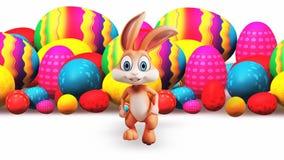 Rinnande kanin och färgrika ägg stock illustrationer