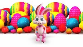 Rinnande kanin och färgrika ägg royaltyfri illustrationer