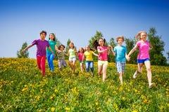 Rinnande lyckliga ungar som rymmer händer i grönt fält Arkivfoton