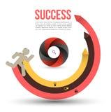Rinnande pilmoment till framgång. vektor illustrationer