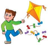 Rinnande pojke med draken stock illustrationer