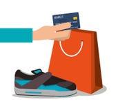 Rinnande skor betalning och shoppingdesign stock illustrationer