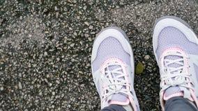 Rinnande skor för kvinna på bästa sikt för gata Arkivbild