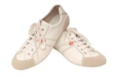 Rinnande skor för läder arkivbilder