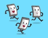 Rinnande smartphones för tecknad film Arkivbild