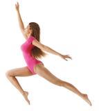 Rinnande sportkvinna, sexig flicka i längdhopp, gymnastbody på vit Royaltyfri Foto