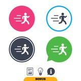 Rinnande teckensymbol Mänskligt sportsymbol Arkivbilder