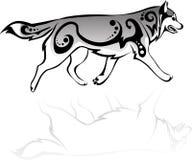 Rinnande varg med modeller Royaltyfri Illustrationer