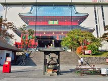 Rinno-ji temple is under renovation. NIKKO, JAPAN - OCTOBER 25, 2014: Rinnoji temple is under renovation. Rinno-ji is a complex of 15 Buddhist temple buildings Royalty Free Stock Photography