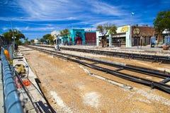 Rinnovamento del tram del centro Fotografie Stock Libere da Diritti