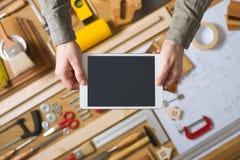 Rinnovamento domestico e cellulare diy app fotografia stock