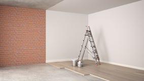 Rinnovamento, processo di ristrutturazione, riparazione e pittura domestici della parete, concetto della costruzione Mattone e pa illustrazione di stock