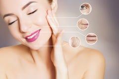 Rinnovando pelle - differenza dopo le procedure immagini stock libere da diritti