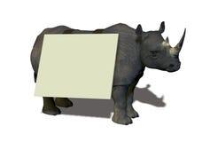 Rinoceronte con il segno Immagini Stock Libere da Diritti